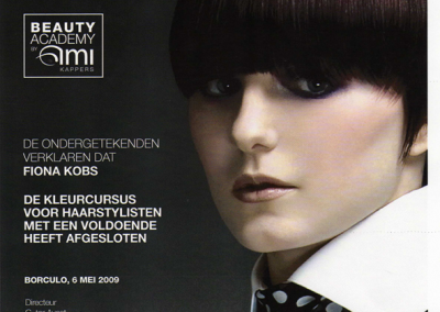 Beauty academy AMi Certificaat Your Personal Hairdresser Fiona