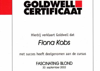 Goldwell certificaat Fascinating Blond Kapsalon Deventer