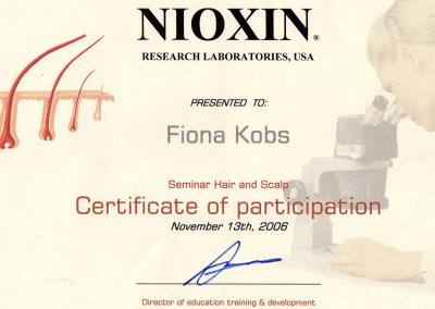 Nioxin Certificaat Your Personal Hairdresser Fiona